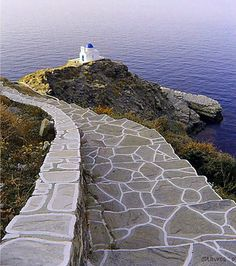 On the way to Seven Martyrs church in Sifnos - I wonder if I could create a patio area off my deck using this type of paver. Beautiful Islands, Beautiful Places, Greece Tours, Greek Sea, Island Villa, Greece Islands, Santorini Greece, Places Around The World, The Good Place