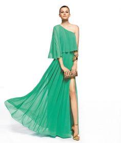 Tek omuzlu yeşil abiye, elbise Pronovias abiye