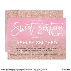 Rose gold typography pink watercolor Sweet 16 Card