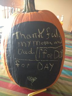 Chalkboard paint on pumpkin