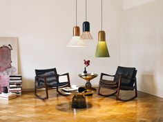 Swinging: the Euvira rocking chair by Jader Almeida. Bell side and coffee tables with Bell Light pendant lamps by Sebastian Herkner Eileen Gray, Ikea Design, Brass Side Table, Brass Coffee Table, Side Tables, Coffee Tables, Green Pendant Light, Sebastian Herkner, Table Cafe