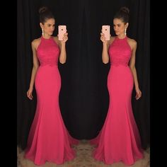 Wishesbridal Elegant Pink High Neck Sweep Train #Chiffon Trumpet Mermaid Prom #Dress Cwb0590