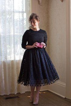 Polka Dot Tutu (Black)   Modest fashion, polka dots, ruffles, lace, bridesmaid fashion   www.daintyjewells.com