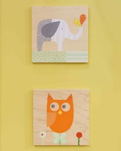 This adorable animal collage has a charming vintage twist and is perfect for a child's bedroom or playroom.