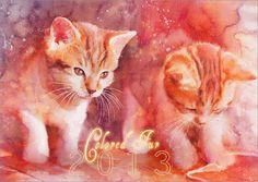 color fur   calendar 2013 by aurorawienhold - Cat Watercolors by Aurora Wienhold  <3 <3