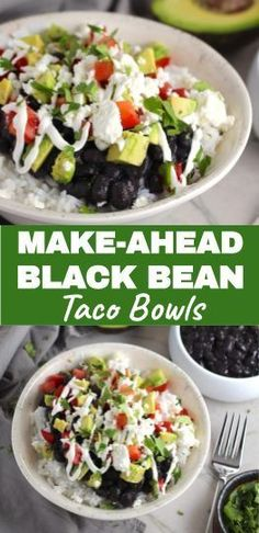 Black Bean Taco Bowls have fluffy rice with smoky black beans creamy avocado salty Cotija cheese cool tangy sour cream fresh tomato and bright cilantro. Make the beans and rice on Sunday and enjoy on a busy weeknight! Setting it up as Taco Bowl Bar Vegetarian Recipes, Healthy Recipes, Healthy Eats, Mexican Recipes, Black Bean Tacos, Easy Family Meals, Easy Meals, Taco Bowls, Healthy Comfort Food