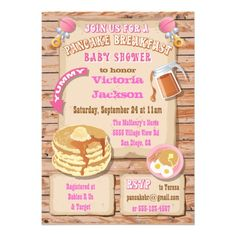 Breakfast or Brunch Baby Shower Invitations. Super cute idea for a baby girl!