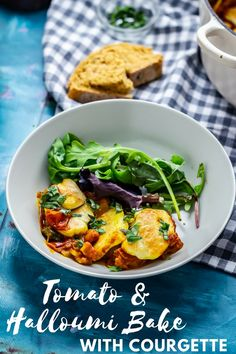 This halloumi bake perfectly combines the healthy freshness of vegetables with the chewy, salty halloumi for a delicious vegetarian dinner. Entree Recipes, Veggie Recipes, Wine Recipes, Cooking Recipes, Veggie Meals, Savoury Recipes, Cheese Recipes, Veggie Food, Soup Recipes