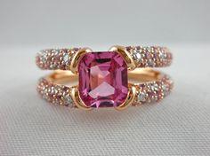Jona Pink Spinel Sapphire Diamond 18k Rose Gold Ring.......