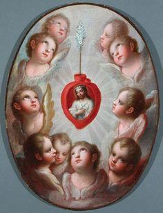 Angels Adoring the Sacred Heart - José de Paez
