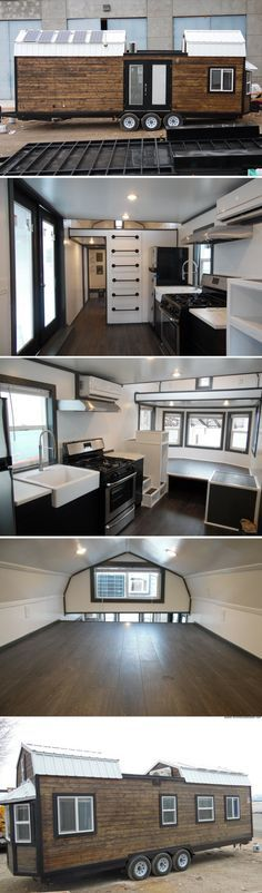 Wood Profits A four-bedroom and off-grid tiny house from Upper Valley Tiny Homes. - A barn-style tiny house from Upper Valley Tiny Homes with four bedrooms and a rooftop deck! Off Grid Tiny House, Tiny House Living, Tiny House Plans, Tiny House On Wheels, Small Beach Houses, Tiny House Nation, Tiny House Movement, Bedroom House Plans, Tiny Spaces