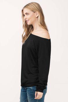 Off The Shoulder Tops, Tobi, Black My Way Off Shoulder Sweatshirt