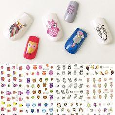 Owls Water Slide Nail Art Nail Decals (11 Designs/228 Nail Decals)