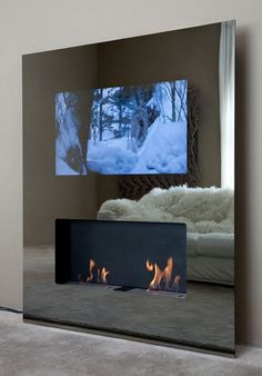 Genius Mirror TV Design for Living Room - Onechitecture Fireplace Built Ins, Modern Fireplace, Fireplace Design, Fireplace Ideas, Fireplace Mirror, Double Fireplace, Minimalist Fireplace, Contemporary Fireplaces, Propane Fireplace