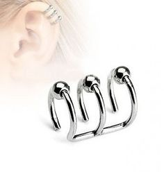 Triple Bead Hoop Ear Cuff Non Piercing Ring. We're simply affordable with high quality body piercing jewelry for everyone worldwide. Prom Earrings, Sapphire Earrings, Rose Gold Earrings, Unique Earrings, Triple Ear Piercing, Faux Piercing, Ear Piercings, Helix Cartilage Earrings, Sapphire Color