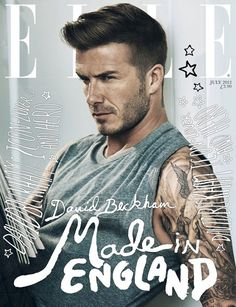 Contrast of white type on dark area of photo. Smart typography play of hand-lettered marks. Repetition of hand-lettering styling in the black stars over Beckham's left ear. Positioning of photo creates symmetry in the design, which is Repeated by both the shape of ELLE's masthead and the vertical hand lettering on both sides of the page.