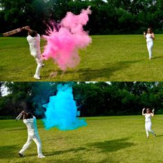 Unique and colorful Gender Reveal for Twins . Expecting mommy Ashley pitches Powder filled plastic balls to Husband! He breaks the balls open with cricket bat (could use baseball bat!) It's a girl! It's a boy! Gender Reveal photography, baby announcement, Baby on board. Babies, Baseball, cricket reveal, colored powder, Pink and Blue, Reveal party, idea, maternity photo, baseball reveal, twins, twins gender