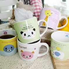 the cutest mugs I have ever seen! i love the panda one! it says: Fighting! Dont forget that I am always here for you. so cute.