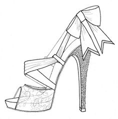 Today is August which in Italy means the start of August vacations. Today is August which in Italy means the start of August vacations. For the entire month of August, most Fashion Illustration Sketches, Art Drawings Sketches, Fashion Sketches, Colouring Pages, Adult Coloring Pages, Coloring Book, Shoe Template, Fashion Design Drawings, Shoe Art