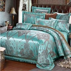 4/6-Pieces Jacquard Luxury Bedding Set Queen King Size Bed Set Imitated Silk