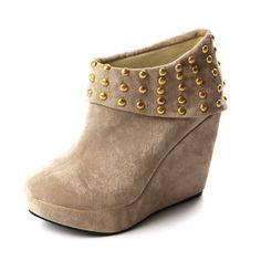 Suede Upper Wedge Heel Ankle Boot