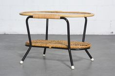 Pill Shaped Bamboo and Metal Side Table with Lower Rattan Shelf