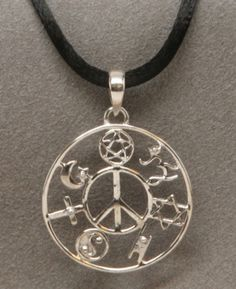 Sterling Silver Coexist Peace Sign Pendant