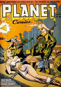 Planet Comics Sept Cover Art by Joe Doolin. This title definitely. - Planet Comics Sept Cover Art by Joe Doolin. This title definitely had a formula for - Science Fiction Magazines, Pulp Fiction Art, Science Fiction Art, Pulp Art, Sci Fi Comics, Old Comics, Horror Comics, Fantasy Comics, Vintage Comic Books