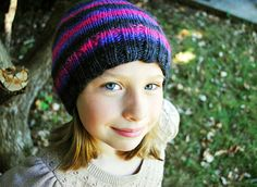 Pink/Purple stripe hat, knit wool  The Mad Knitter Shop on Etsy