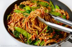 Take on the takeout with this quick and easy recipe for the best chicken lo mein loaded with noodles and tossed in a garlicky soy sauce.