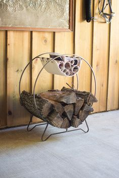 round log holder with canvas kindling sling