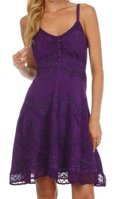 Sakkas 4031 Stonewashed Rayon Adjustable Spaghetti Straps Mid Length Dress - Purple - 1X/2X Sakkas http://smile.amazon.com/dp/B00H7LXM8C/ref=cm_sw_r_pi_dp_AIETtb0TAH156TE9