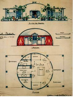 A Wallace Neff Bubble House. Architecture Drawings, Architecture Plan, Round House Plans, Monolithic Dome Homes, Bubble House, White Bedroom Decor, Unusual Buildings, Dome House, Geodesic Dome