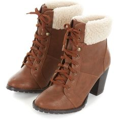 Brown Faux Shearling Cuff Lace Up Boots ❤ liked on Polyvore featuring shoes, boots, heels, botas, sapatos, lace up heel boots, lacing boots, cuff boots, cuffed lace up boots and brown shoes