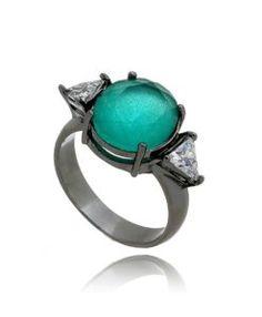 anel da moda turmalina candy com zirconias cristais e banho de rodio negro semi joias de luxo
