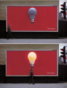 Great idea. This ad created for The Economist is designed with a motion sensor which lights up the bulb whenever somebody walks directly underneath it.