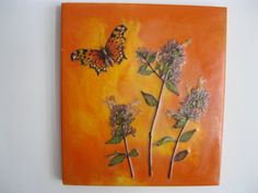 Butterfly and Flowers 4 by EncausticsEtc on Etsy, $30.00