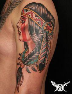 American traditional // Russ Abbott Ink and Dagger Tattoo Atlanta Native American Tattoos, Native Tattoos, Native American Women, American Symbols, American History, Future Tattoos, New Tattoos, Body Art Tattoos, Sleeve Tattoos