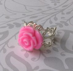 Pretty Pink Rose Filigree Ring by DesignsbyChastity on Etsy, $8.50