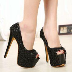 Elegant Black PU Open Peep Toe Stiletto Super High Heel Basic Pumps Wedge Shoes, Shoes Heels, Pumps, Super High Heels, Black Stilettos, Peep Toe Heels, Cute Shoes, Girls Shoes, Wedges