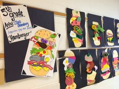 Melanie Lupien Art Class: Grade art lesson: Claus Oldenburg Burger - Mixed M. Name Art Projects, Art Projects For Teens, Toddler Art Projects, School Art Projects, Class Projects, Art Burger, Art Journal Pages, Pop Art Background, Graffiti