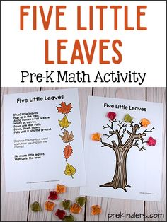 Five Little Leaves Math: Simple Preschool Subtraction Game Forest Activities and Lesson Plans for Pr Pre K Lesson Plans, Lesson Plans For Toddlers, Kindergarten Lesson Plans, Kindergarten Classroom, Classroom Ideas, Fall Preschool Activities, Preschool Lessons, Preschool Learning, Preschool Music