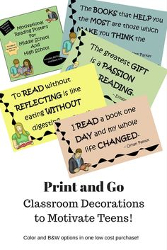 Motivational Reading Posters for Teens! Quick, easy just print and decorate your space.