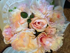 Pink Peonies and Roses WEDDING BOUQUET Silk by ArkSouthernBelle
