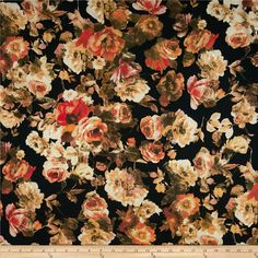 Picasso Rayon Poplin Floral Black/Multi