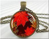 Autumn Art Necklace Pendant Resin Pendant Leaf Jewelry Fall Season Necklace Picture Pendant (002RB)
