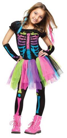 awesome Girl's Funky Bones Costume Tween Girl's Neon Skeleton Halloween Costume