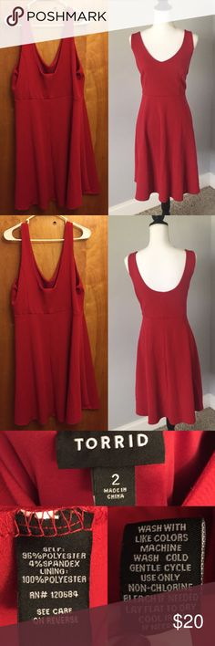 Torrid red skater dress This is a re-Posh! Bought it from another wonderful Posher but it's just a touch too big for me. But the dress is light, stretchy and incredibly flattering! torrid Dresses