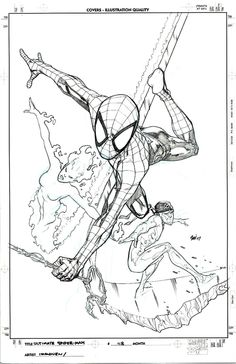 "comicbookartetc: "" Ultimate Spider-Man 118 Cover by Stuart Immonen "" Comic Book Artists, Comic Artist, Comic Books Art, Comic Con Outfits, Stuart Immonen, Spiderman, Comic Panels, Marvel Art, Coloring Book Pages"