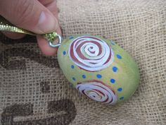 Hand Painted Egg Wood Ornaments.